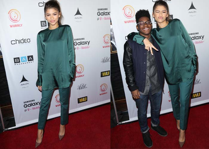 Zendaya poses with T-Boz on the red carpet