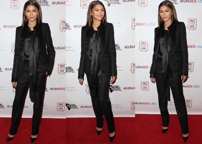 Zendaya wears a two-piece suit by Ports 1961 Womenswear on the red carpet of the World AIDS Day Benefit