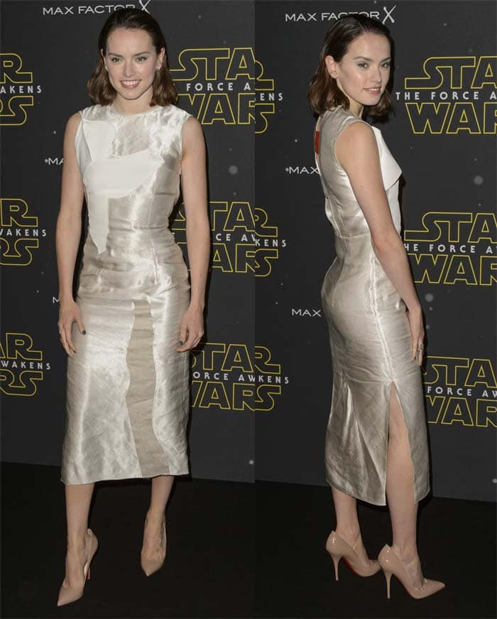 """Daisy Ridley wears a shimmering pencil dress at the """"Star Wars: Fashion Finds the Force"""" event"""