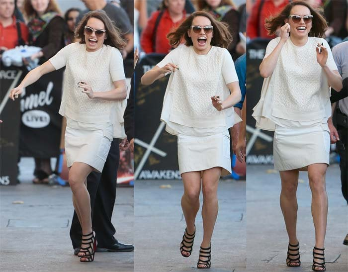 Daisy Ridley wears a cream-colored cargo skirt and chiffon top as she arrives at ABC Studios