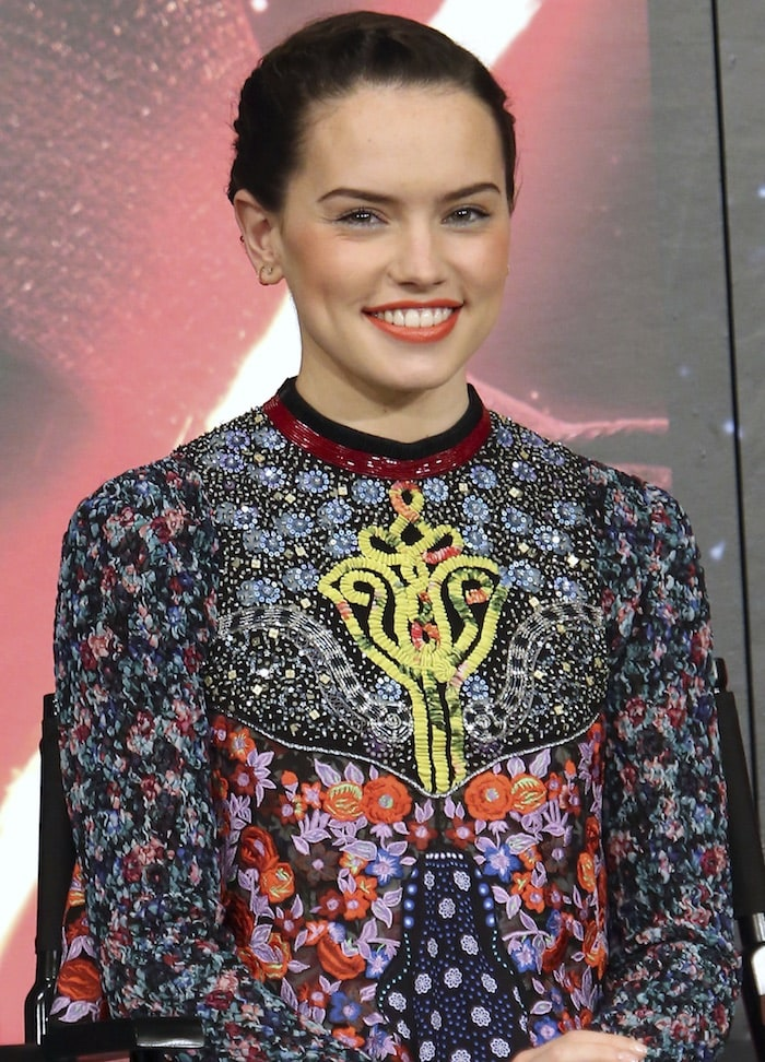 Daisy Ridley went for a more glamorous look for a press conference at the Sheraton Grande Tokyo Bay Hotel in Uarayasu, Japan on December 11, 2015