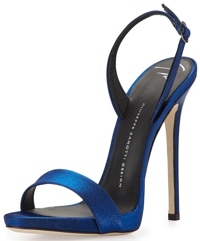Giuseppe Zanotti Satin Slingback Sandal, Electric Blue