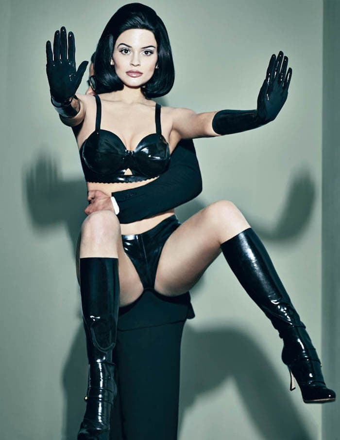 Kylie Jenner wears an all-leather ensemble as she poses for an Interview Magazine photoshoot