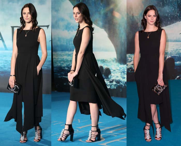Kaya Scodelario wears a black Chanel dress on the blue carpet
