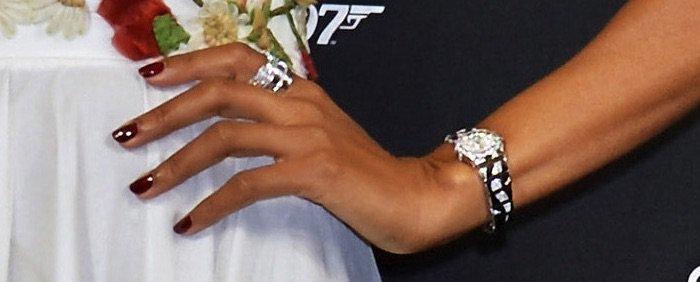 Naomie Harris showing off her watch