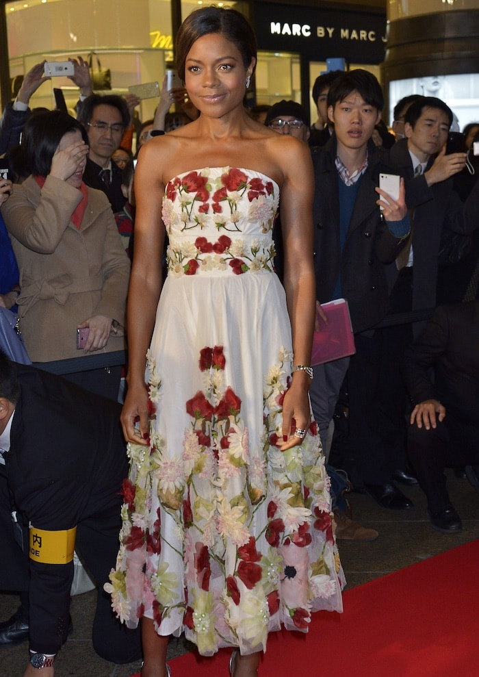 Naomie Harris looked chic and fabulous in a floral Alexander McQueen number