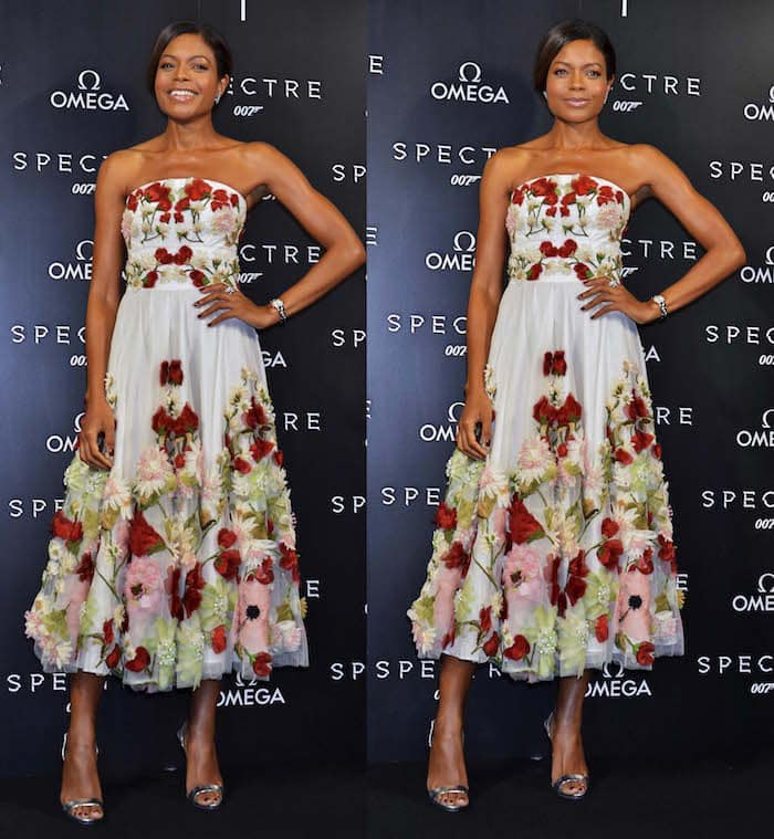 Naomie Harris pairs her Alexander McQueen dress with Giuseppe Zanotti slingback sandals in silver for a photocall in Tokyo