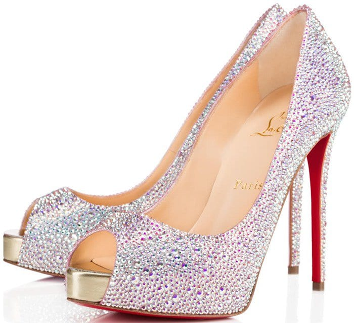 Christian Louboutin New Very Riche Strass Peep-Toe Pumps