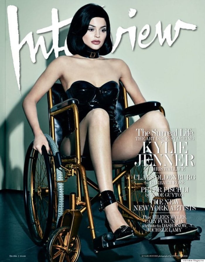 Kylie Jenner poses with a wheelchair in her Interview magazine cover
