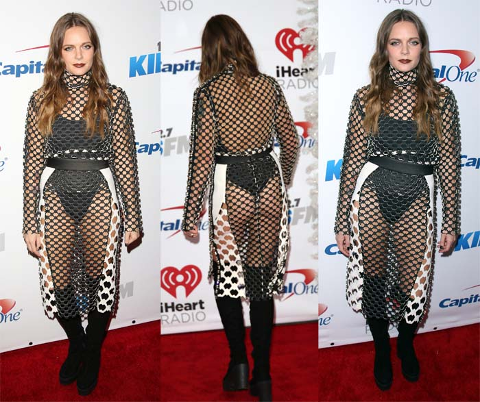 Tove Lo wears a black and white mesh dress from Lamija Suljevic on the red carpet