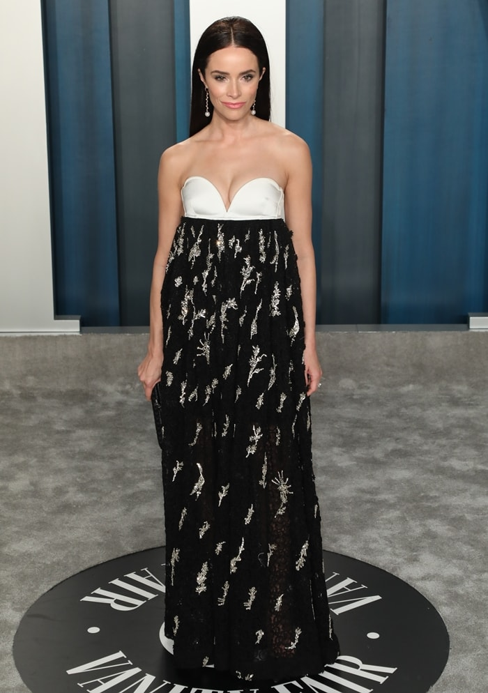 Abigail Spencer in a dress from Givenchy's Spring 2020 ready to wear collection at the 2020 Vanity Fair Oscar Party