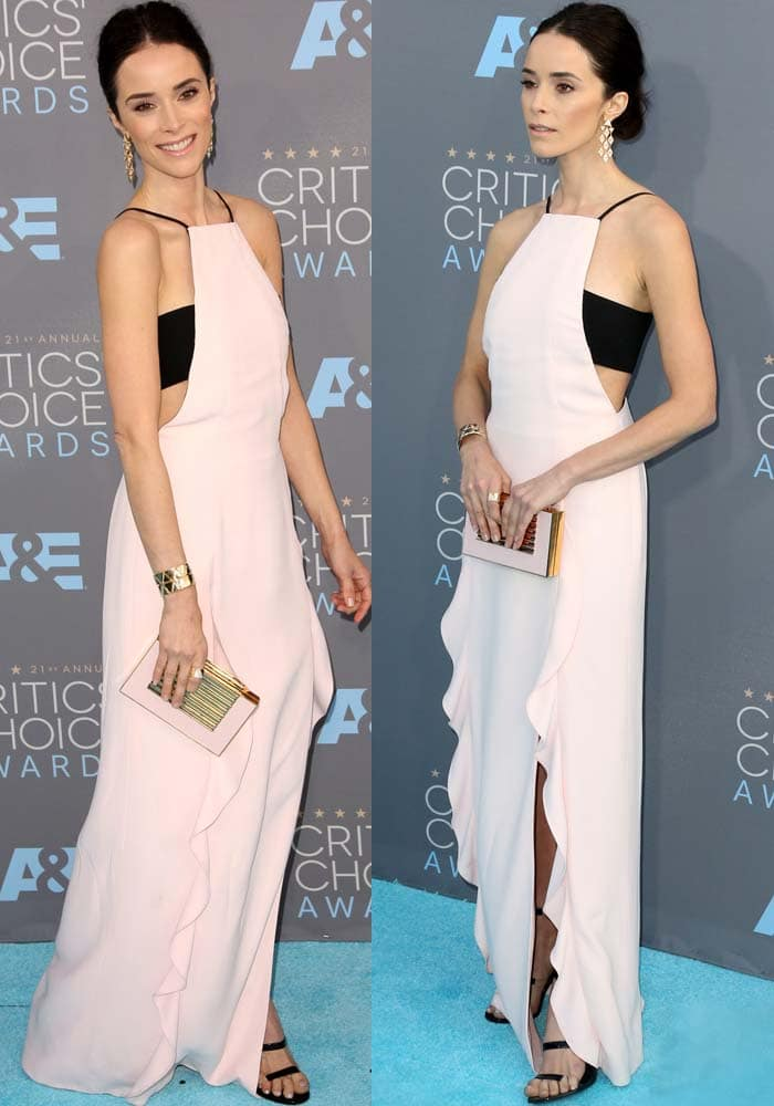 Abigail Spencer wears a pink-and-black J. Mendel dress to the Critics' Choice Awards