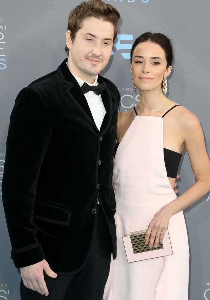 Duke Johnson and Abigail Spencer pose for photos together at the Critics' Choice Awards