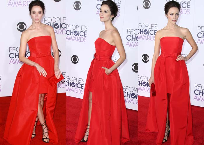 Abigal Spencer matches her red Alexa Maria dress to the red carpet at the People's Choice Awards