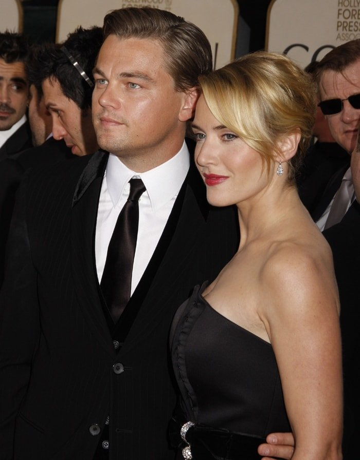 Actors Kate Winslet and Leonardo DiCaprio at the 66th Annual Golden Globe Awards