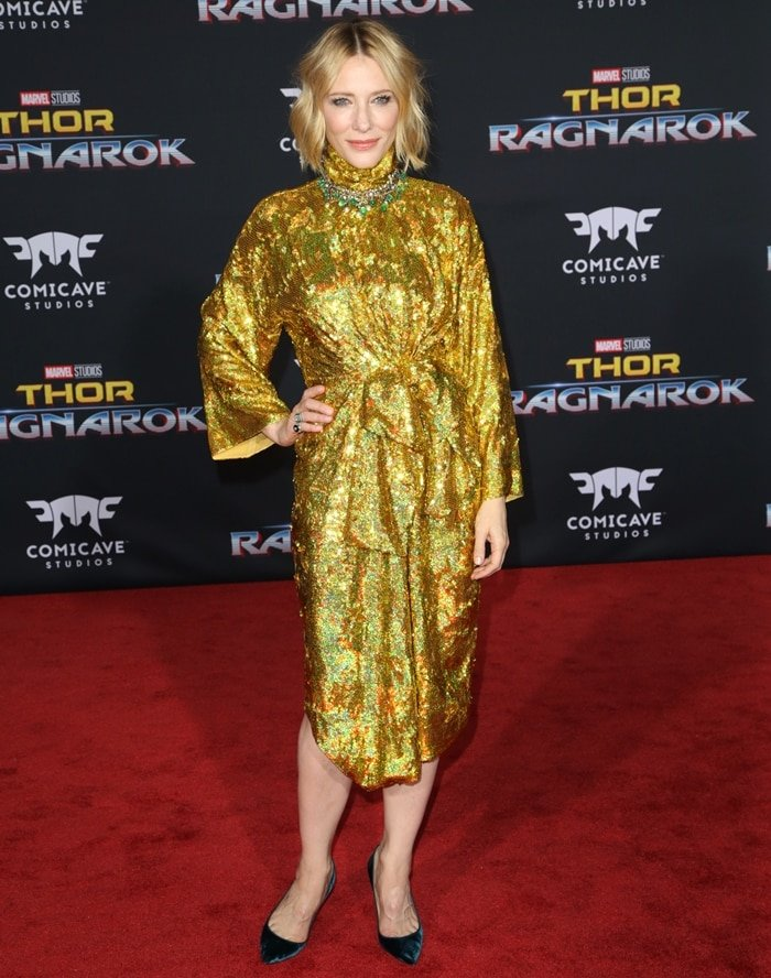 Actress Cate Blanchett arrives at the premiere of Disney and Marvel's 'Thor: Ragnarok'