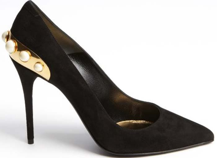 Alexander McQueen Black Suede Embossed Leather Gold Trimmed Faux Pearl Pumps