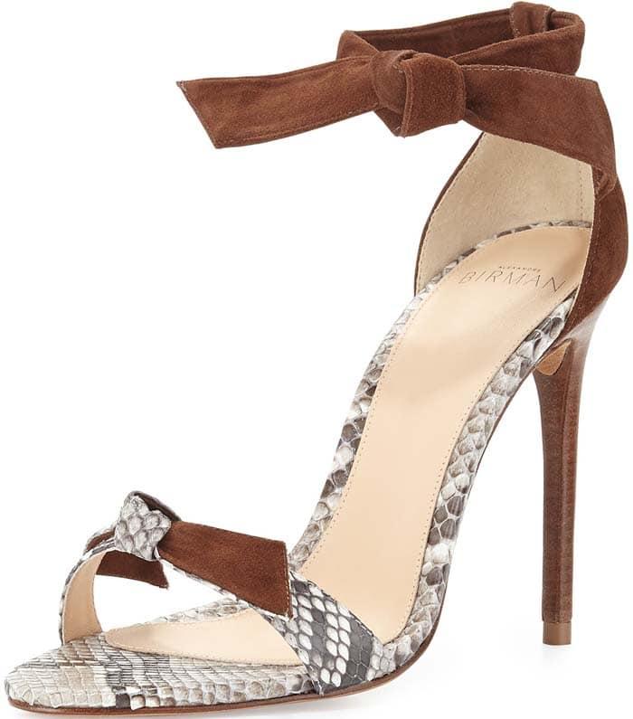 Alexandre Birman Lolita Leather & Python Bow-Tie d'Orsay Sandal in Natural/Cognac