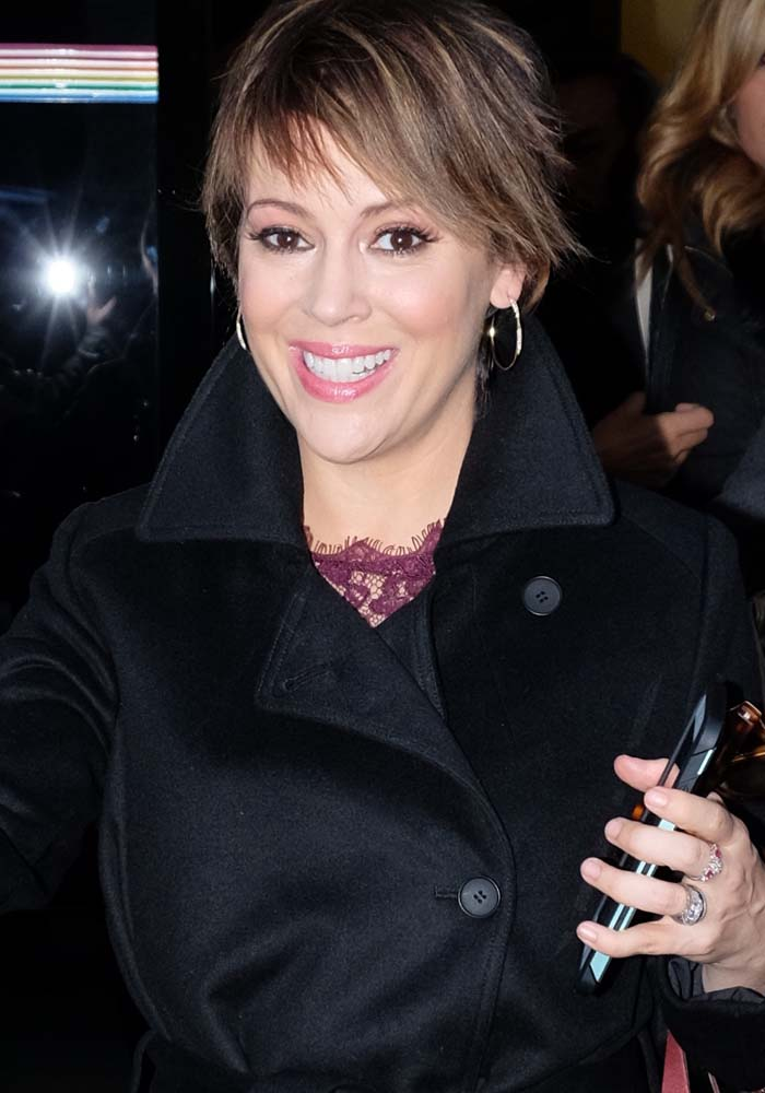 "Alyssa Milano shows off her cropped hair as she leaves ""The Wendy Williams Show"""
