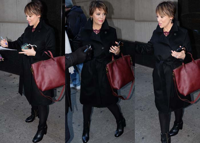 "Alyssa Milano wears a black coat and signs autographs as she leaves ""The Wendy Williams Show"""