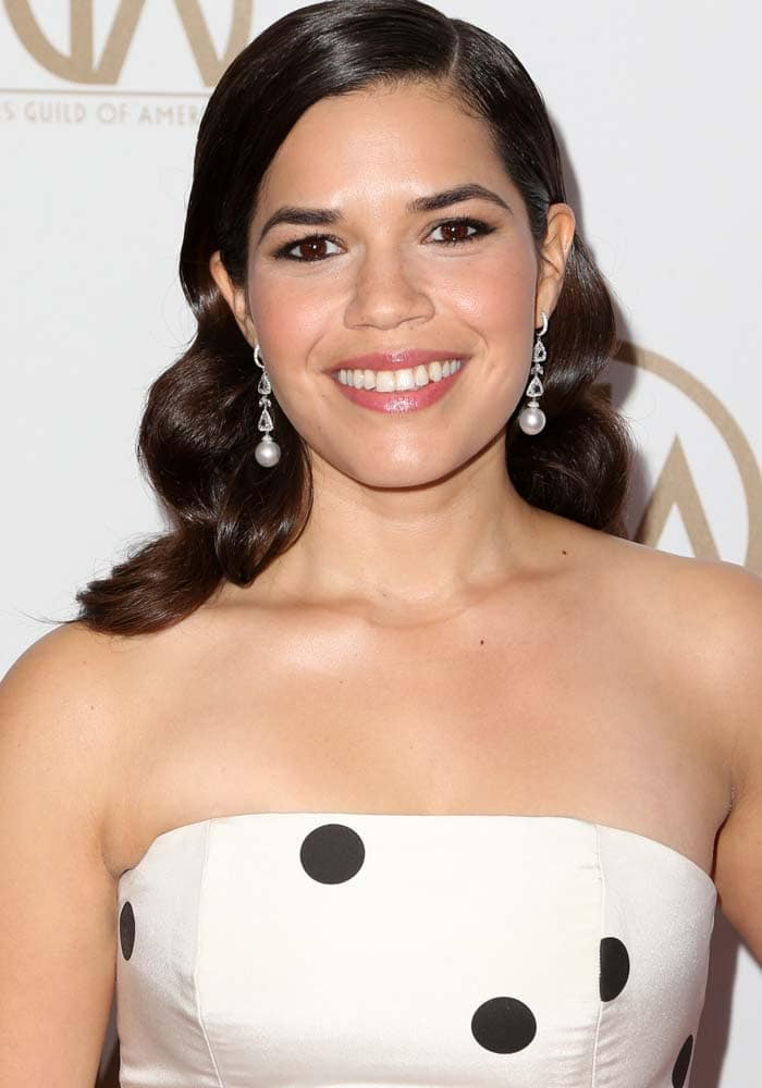 America Ferrera curls her hair for the 27th Annual Producers Guild Awards
