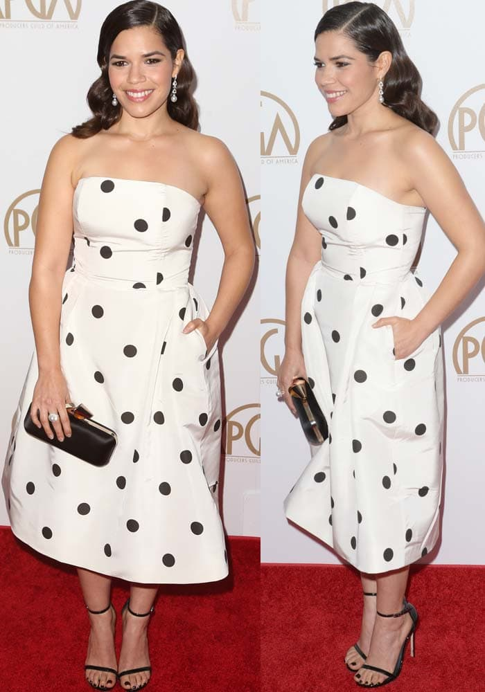 America Ferrera wears a silk polka-dotted dress from Alexia Maria on the red carpet