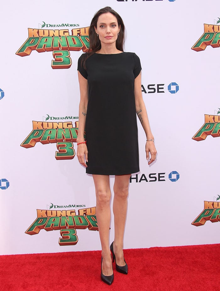 Angelina Jolie displayed her super skinny frame in a simple LBD by Saint Laurent