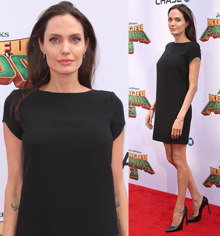 Angelina Joliedressed up with a few rings, bracelets, a pair of EF Collection earringsand a pair of black pumps