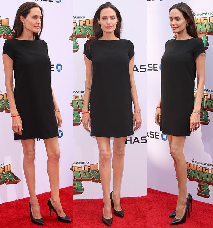 """Angelina Jolie topped off her look with """"Paris"""" pumps by Saint Laurent"""
