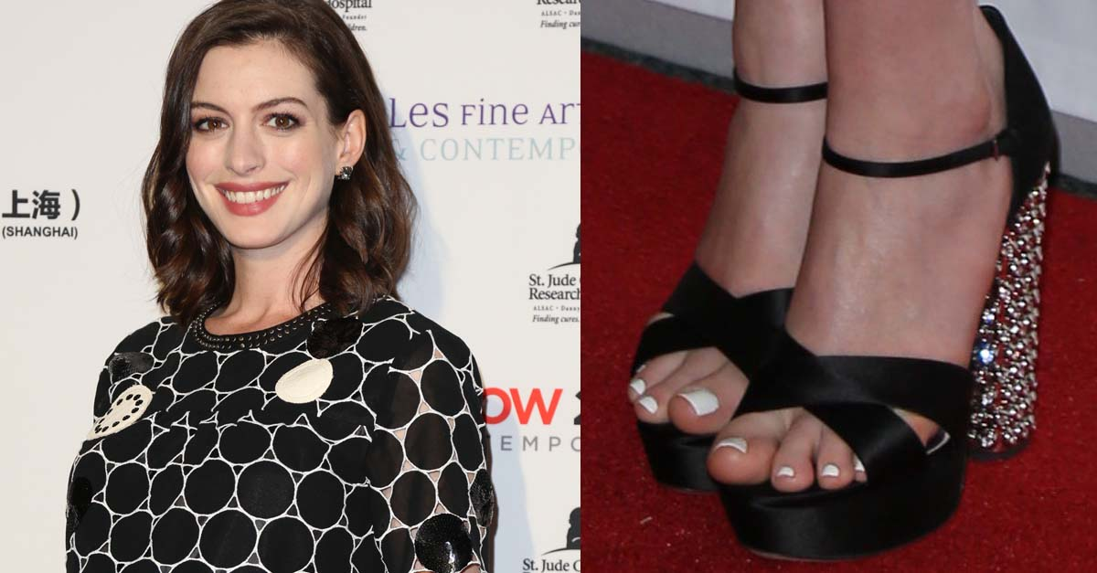 9dd86be19b9 Pregnant Anne Hathaway Debuts Baby Bump on the Red Carpet at the LA Art  Show Opening in Miu Miu Platforms