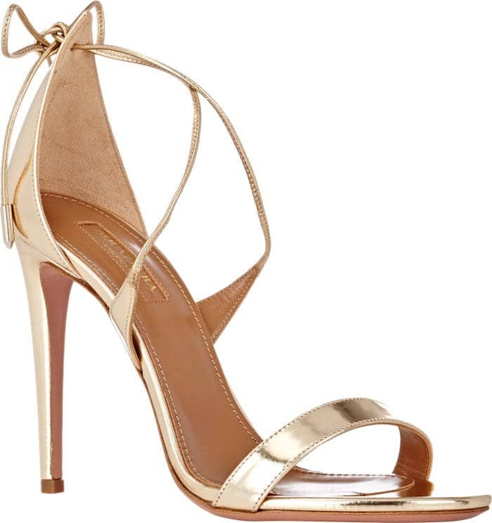 "Aquazzura ""Linda"" Metallic Leather Sandal in Light Gold"