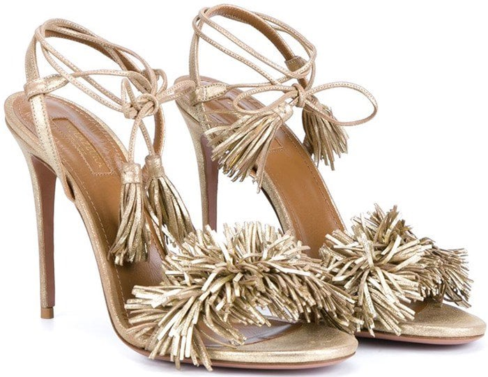Aquazzura Wild Thing Sandals in Golden Leather