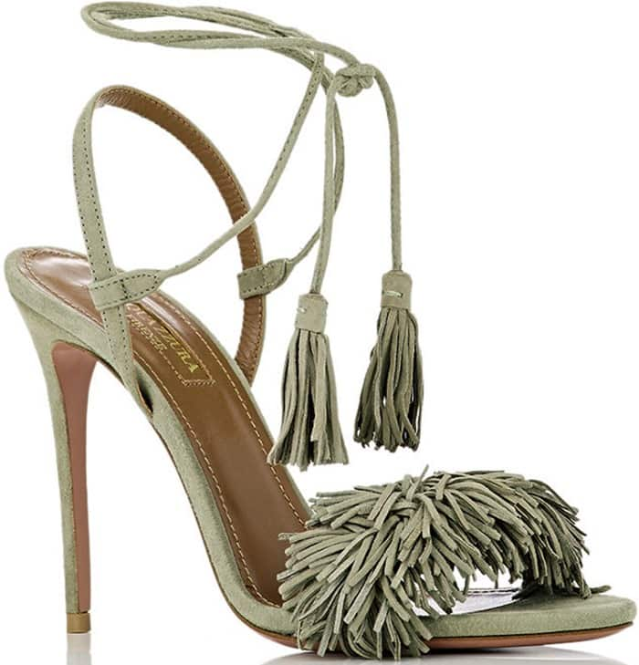 Aquazzura Wild Thing Sandals in Khaki Suede