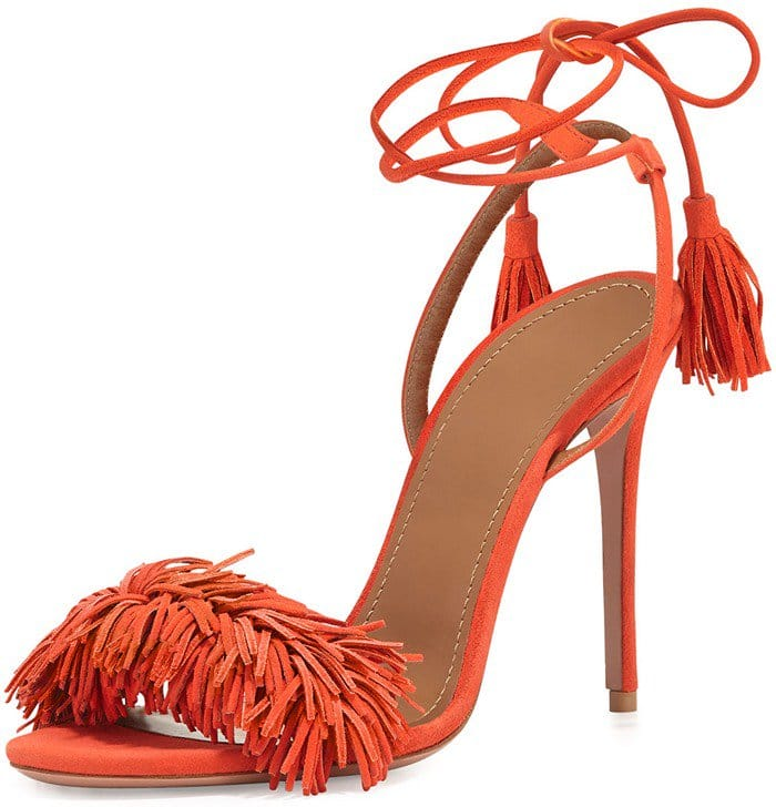 Aquazzura Wild Thing Sandals in Tulip Clementine