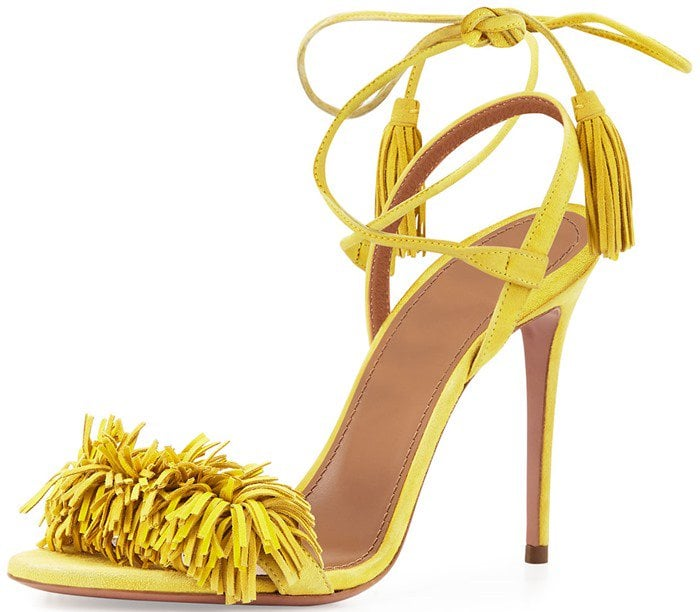 Aquazzura Wild Thing Sandals in Tulip Yellow