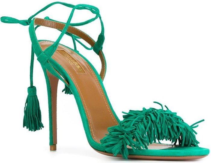 Aquazzura Wild Thing Sandals in Watermelon Green Suede