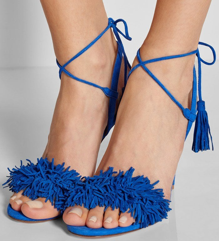 Aquazzura Wild Thing fringed suede sandals in blue