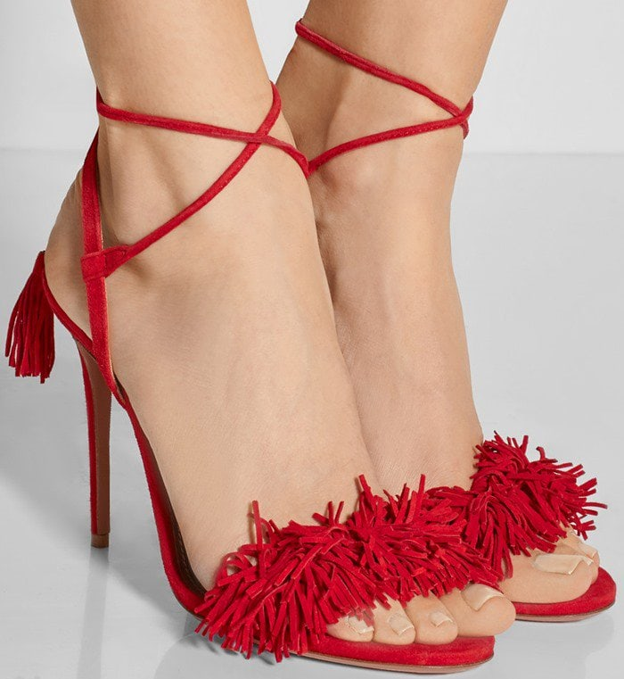 Aquazzura Wild Thing fringed suede sandals in red