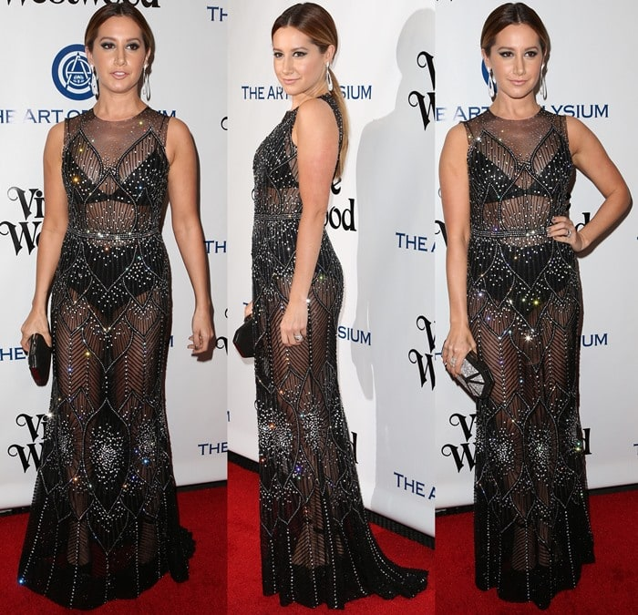 Ashley Tisdale shows off her black underwear in a sheer embellished dress from Davidson Zanine