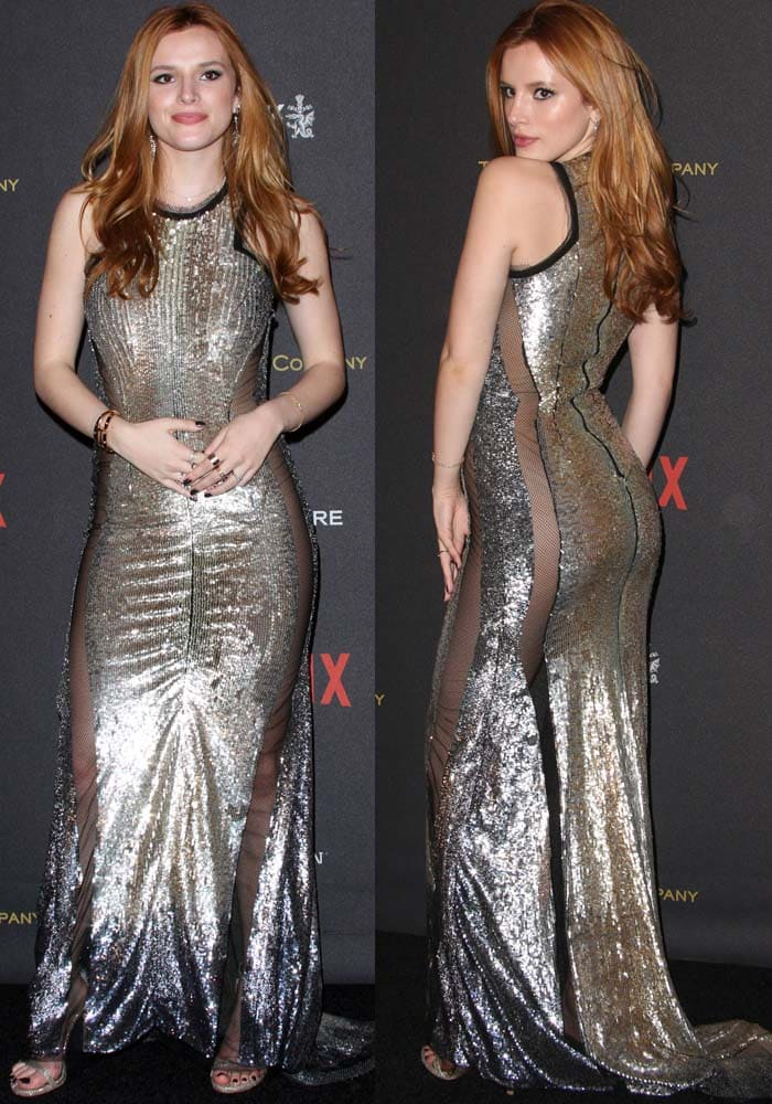 Bella Thorne sparkles on the red carpet of the Golden Globe After Party in a sheer metallic Julien Macdonald dress