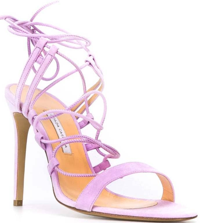 Mauve Bionda Castana Viola Lace-Up Sandals