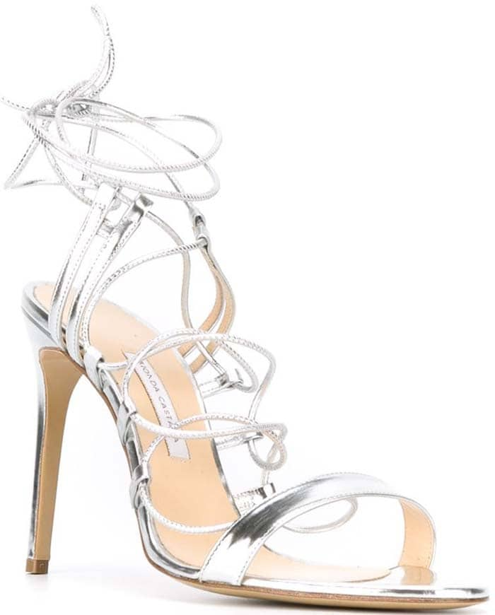 Silver Metallic Castana Viola Lace-Up Sandals