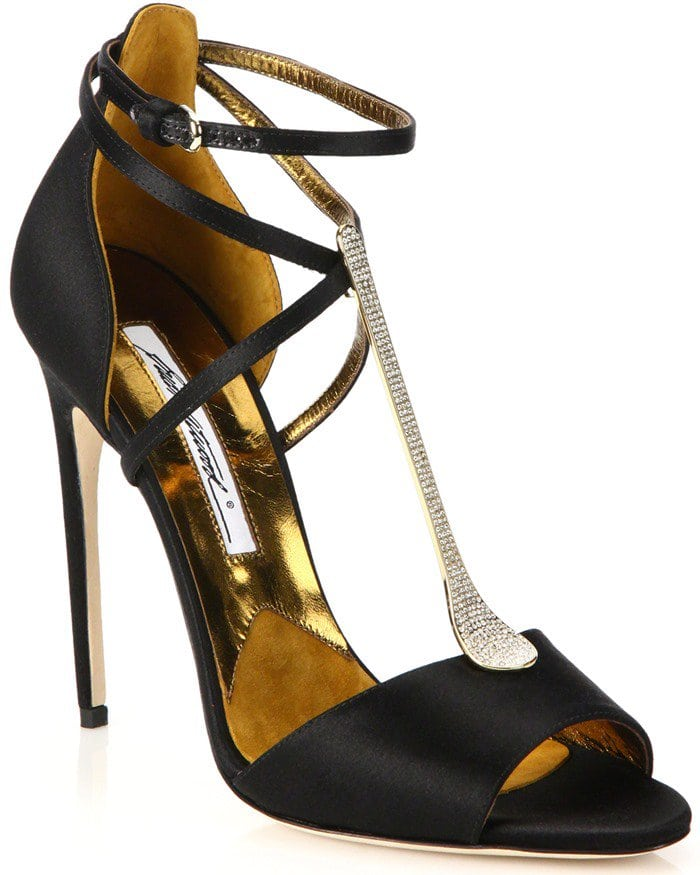 Brian Atwood Avice Satin Embellished T-Strap Sandals