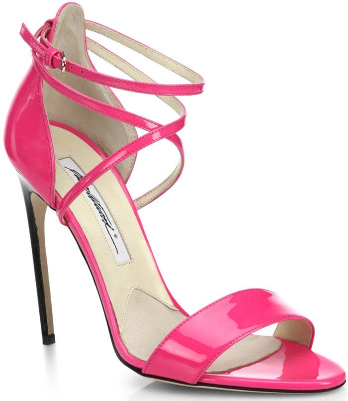 Brian Atwood Pink Tamy Patent Leather Strappy Sandals