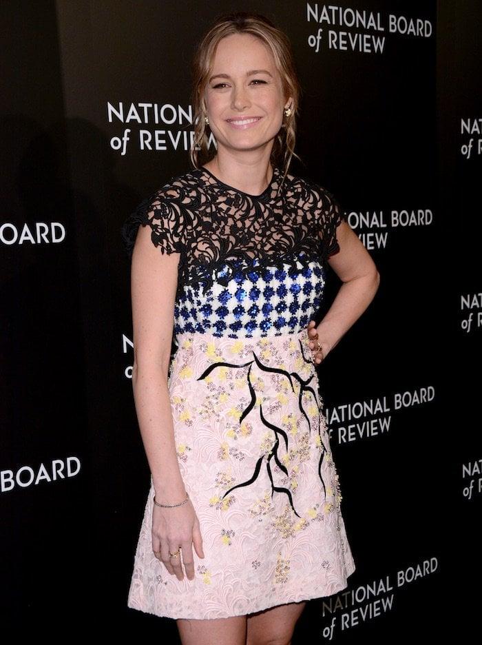 Brie Larson wears a mixed media dress from Giambattista Valli