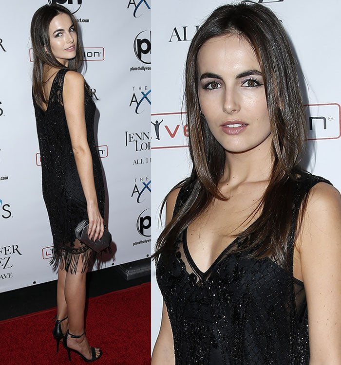 Camilla Belle shows off the beaded detail on her vintage-inspired Ralph Lauren dress