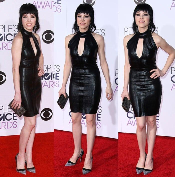Carly-Rae-Jepsen-black-leather-halter-mini-dress