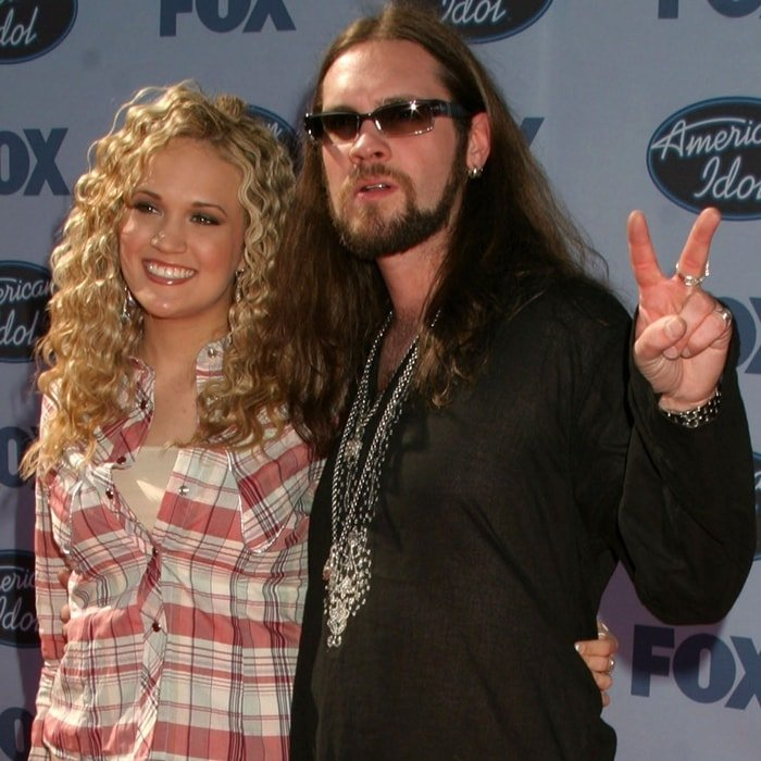 """American Idol winner Carrie Underwood and runner up Harold Elwin """"Bo"""" Bice Jr. pose at the American Idol Finale: Results Show"""