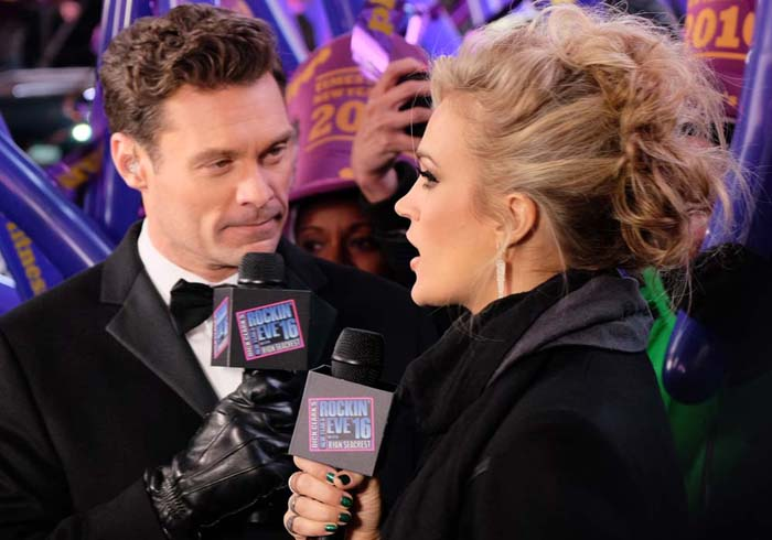 """Carrie Underwood participates in an interview during the """"Dick Clark's New Year's Rockin' Eve"""" celebration"""