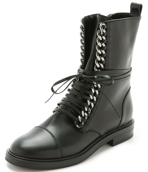 Casadei Leather and Chain Combat Boots